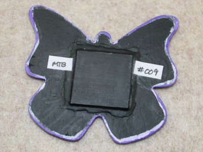Wooden Butterfly Magnet 009 - Purple - Martha Bechtel Back Tan