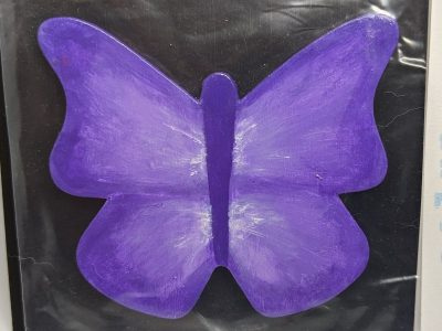 Wooden Butterfly Magnet 009 - Purple - Martha Bechtel Front Black