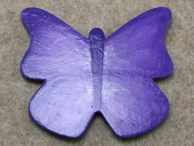 Wooden Butterfly Magnet 009 - Purple - Martha Bechtel Front Tan