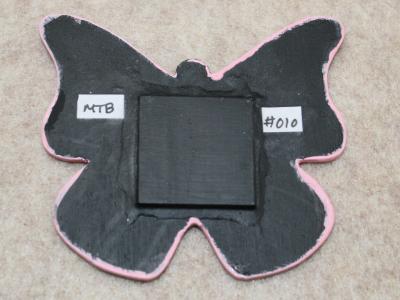 Wooden Butterfly Magnet 010 - Pink - Martha Bechtel - Back tan