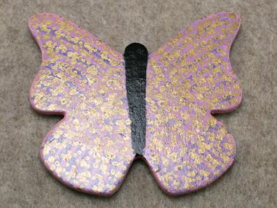Wooden Butterfly Magnet 010 - Pink - Martha Bechtel - Front tan