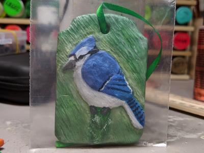 Blue Jay Ornament 001 - Blue on Green - Martha Bechtel - Front bag