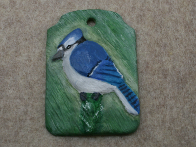 Blue Jay Ornament 001 - Blue on Green - Martha Bechtel - Front tan