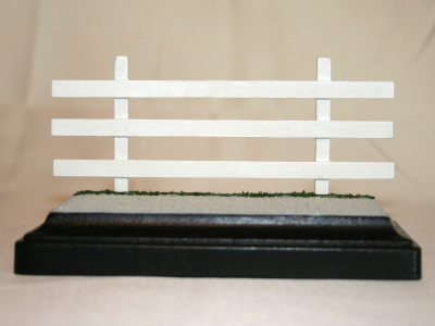 Model Horse Fencing - Stablemate Scale - White Three Rail - Front base