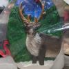 Reindeer Ornament 008 - Brown on Green Night - Martha Bechtel - Front Bag