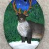 Reindeer Ornament 008 - Brown on Green Night - Martha Bechtel - Front Tan