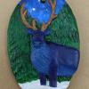 Reindeer Ornament 009 – Blue on Green Night – Martha Bechtel – Front Hanging