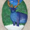 Reindeer Ornament 009 – Blue on Green Night – Martha Bechtel – Front Tan