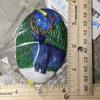 Reindeer Ornament 009 – Blue on Green Night – Martha Bechtel – Scale