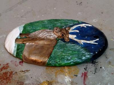 Reindeer Ornament - Painted Example - Martha Bechtel - Right
