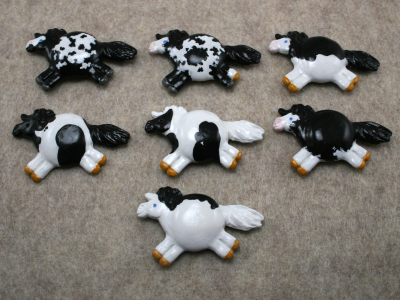 Fat Pony Magnets - Martha Bechtel - Black Tobiano Overo Sabino Group shot