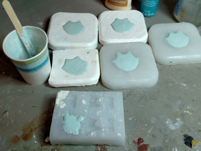 Flat Cat Heads - Plaster Casting