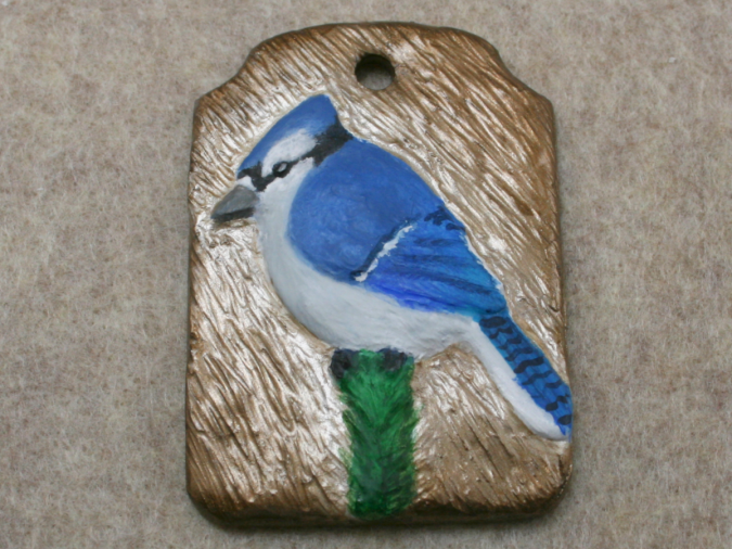 Blue Jay Ornament 002 - Martha Bechtel - Front Tan