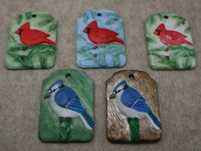 Blue Jay and Cardinal Ornaments - Martha Bechtel - Group Shot