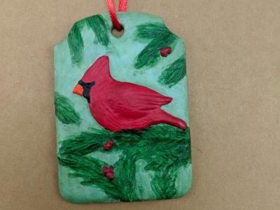 Cardinal Christmas Ornament 004 - Martha Bechtel - Front Tan