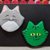 Flat Cat Head Magnet 017 20 - Martha Bechtel - Front Black