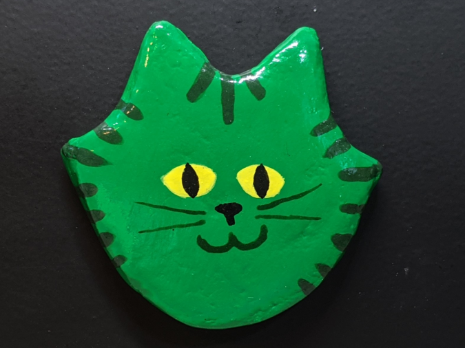Flat Cat Head Magnet 017 - Martha Bechtel - Front Black