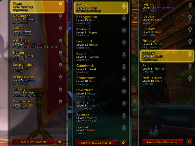 Three Main Server Groups - yay alts - World of Warcraft