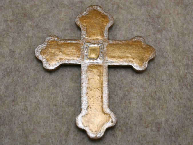 Wooden Cross Magnet 003 - Martha Bechtel - Flat Tan