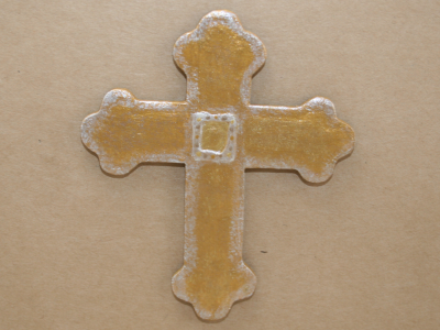 Wooden Cross Magnet 003 - Martha Bechtel - Front Tan