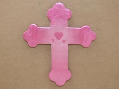 Wooden Cross Magnet 005 - Martha Bechtel - Front Tan