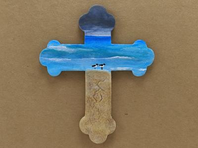 Wooden Cross Magnet 007 - Martha Bechtel - Front Tan