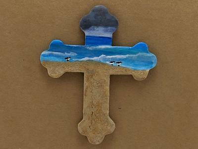 Wooden Cross Magnet 009 - Martha Bechtel - Front Tan