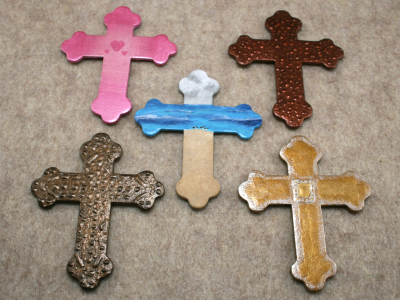 Wooden Cross Magnets - Martha Bechtel - Group Shot