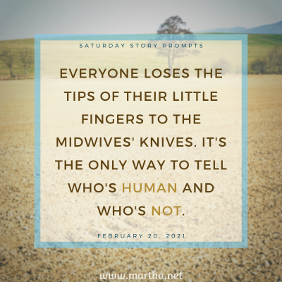 Saturday Story Prompts image for 2021-02-20. Everyone loses the tips of their little fingers to the midwives' knives. It's the only way to tell who's human and who's not. written by Martha Bechtel