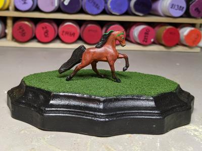 3x5 Scalloped Oval - Grass Mix - Martha Bechtel - Model Horse Base - Micro