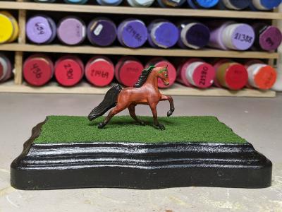 3x5 Scalloped Rectangle - Grass Mix - Template A - Martha Bechtel - Model Horse Base - Horse
