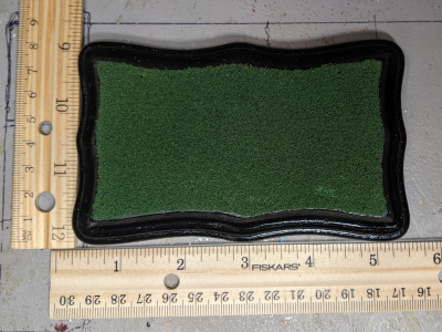 3x5 Scalloped Rectangle - Grass Mix - Template A - Martha Bechtel - Model Horse Base - Scale