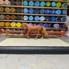 9 inch Dark Walnut - Template A Stablemate Scale Model Horse Fence - with model
