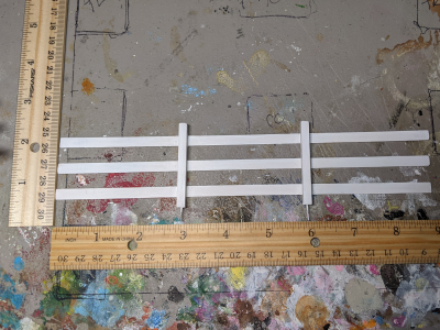 9 inch White - Template A Stablemate Scale Model Horse Fence - scale