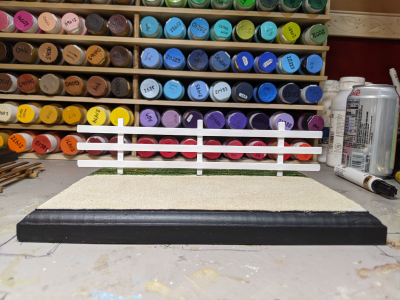 9 inch White - Template D Stablemate Scale Model Horse Fence - front