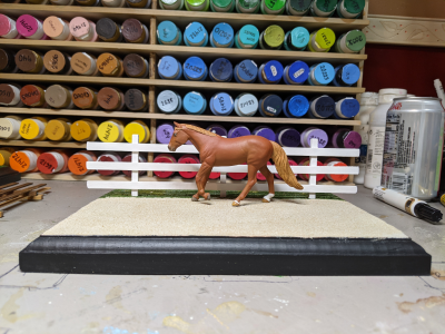 9 inch White - Template D Stablemate Scale Model Horse Fence - with model