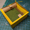 4 inch Square Grass Base with Fence - Micro Mini Scale - Box Assembled