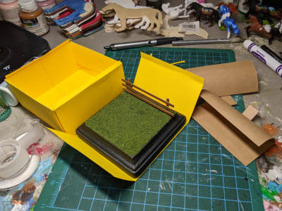 4 inch Square Grass Base with Fence - Micro Mini Scale - Box Disassembled