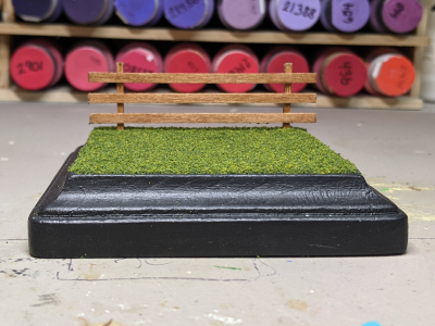 4 inch Square Grass Base with Fence - Micro Mini Scale - Front