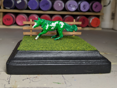 4 inch Square Grass Base with Fence - Micro Mini Scale - Mini Whinnie