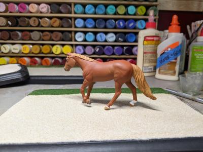 7x9 Model Horse Base - Sand and Grass - Martha Bechtel - Portrait