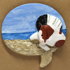 Leaping Horse 012 Magnet - Bay Tobiano on beach speach bubble - Martha Bechtel - Tan