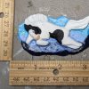 Leaping Horse 017 Magnet - Black Tobiano on blue mountains - Martha Bechtel - Scale