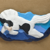 Leaping Horse 017 Magnet - Black Tobiano on blue mountains - Martha Bechtel - Tan