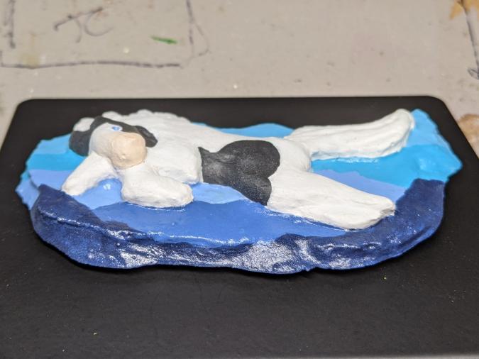 Leaping Horse 017 Magnet - Black Tobiano on blue mountains - Martha Bechtel - Tummy