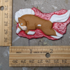 Leaping Horse 018 Magnet - Palomino Overo on red - Martha Bechtel - Scale