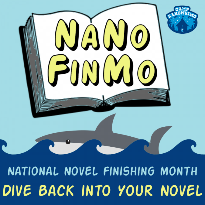 April Camp NaNoWriMo - NaNoFinMo square writing badge