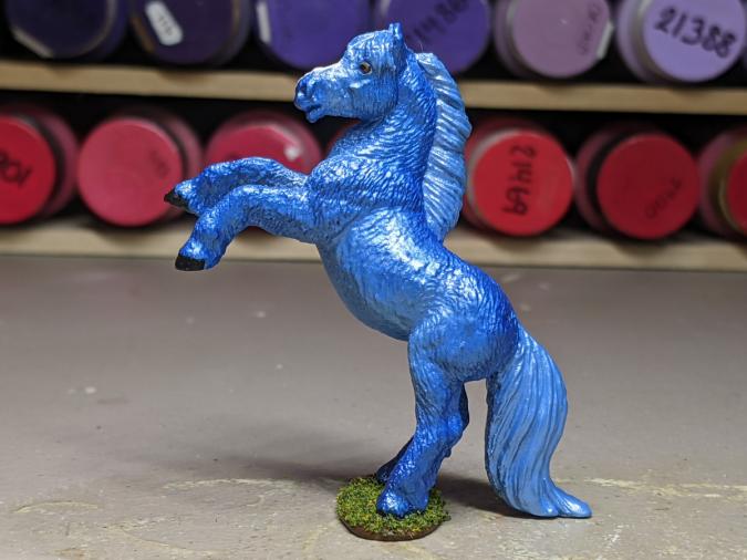 Splash - Custom Safari Ltd TOOB Rearing Pony - Martha Bechtel - Left