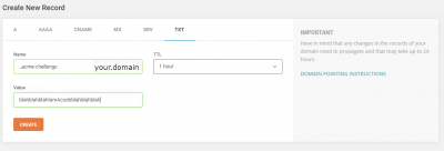 SiteGround TXT file creation for CertBot verification