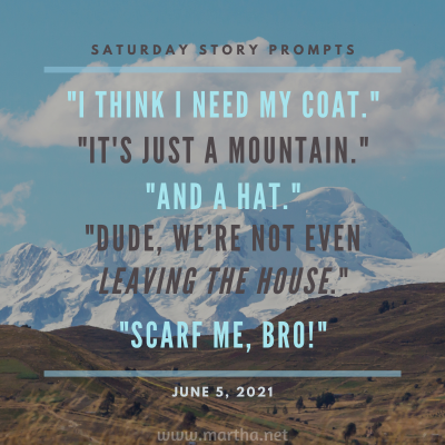 I think I need my coat. It's just a mountain. And a hat. Dude, we're not even leaving the house. Scarf me, bro! Saturday Story Prompt. June 5, 2021